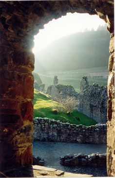 A view of Loch Ness from a castle window ~ Scotland