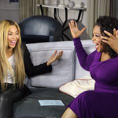 Beyonce sharing a laugh with Oprah for NEXT CHAPTER