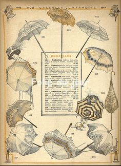 Vintage french Fashion Plate Galeries Lafayette - Belle epoque Ombrelle. $19.00, via Etsy.