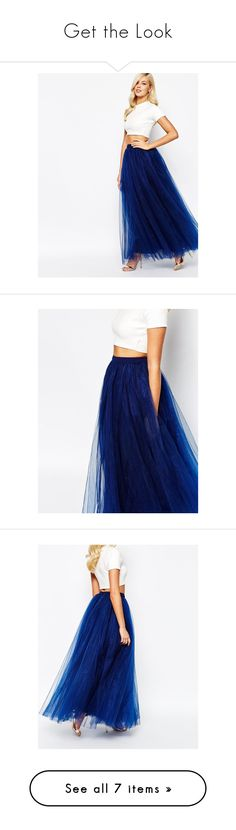 """Get the Look"" by alongcametwiggy ❤ liked on Polyvore featuring skirts, navy, white tulle skirt, long tulle skirt, long white skirt, tulle skirts, long skirts, long maxi skirts, blue tulle skirt and long blue maxi skirt"