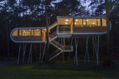 Architecture, Interesting Modern Tree House Designs By Baumraum In Belgian Featuring Unique Exterior And Architecture With Wooden And Glass Facade, Metallic Stairs And Greenery: Fascinating Huge Tree House Design with Modern Concept Modern Tree House, Tree House Designs, Play Houses, Modern Architecture, Sustainability, Beautiful Homes, Construction, Contemporary, House Styles