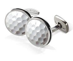 M-Clip Golf Ball Bordered Round Cufflinks