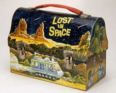 """""""Lost in Space"""" Lunch Box: This lunch box features images from the television show """"Lost in Space,"""" which ran from on CBS. """"Lost in Space"""" was originally named """"Space Family Robinson,"""" and was a futuristic take on the Swiss Family Robinson. Lunch Box Thermos, Vintage Lunch Boxes, Cool Lunch Boxes, Metal Lunch Box, Nostalgic Candy, School Lunch Box, Whats For Lunch, Lost In Space, Space Tv"""