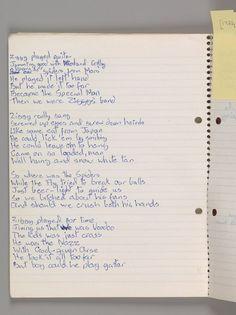 """Original David Bowie's handwritten lyrics for Ziggy Stardust."""""""