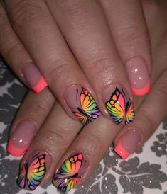 A Bit of Warmth in Manicure With Beautiful Butterflies neon pink Pretty Nail Art, Cute Nail Art, Cute Acrylic Nails, Beautiful Nail Art, Cute Nails, Nail Art Designs, Fingernail Designs, Cute Summer Nail Designs, Cute Summer Nails