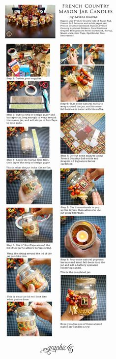 A Tutorial to be Thankful For - French Country Mason Jar Candles by Arlene #graphic45 #thanksgiving #tutorials