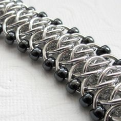 Beaded Viperscale chainmaille bracelet by TattooedAndChained