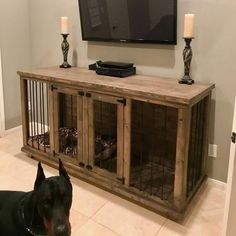 Wooden Dog Crate, Wire Dog Crates, Diy Dog Crate, Wood Dog, Dog Crate End Table, Double Dog Crate, Large Dog Crate, Large Dogs, Small Dogs