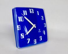 Large Vintage School Wall Clock / Iskra Wall Clock / 70's Yugoslavia / Blue by TheCuriousCaseShop on Etsy https://www.etsy.com/listing/523021078/large-vintage-school-wall-clock-iskra