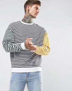 ASOS Oversized Sweatshirt with Tri Color Stripe - White