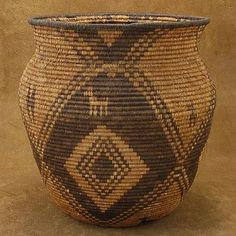 Vintage Native American Antique Basket -- perfect for storing blankets, magazines, etc