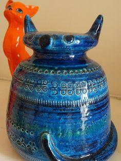 Rare MID Century Italian Rimini Blue Aldo Londi Made Bitossi CAT Ellis Eames ERA | eBay