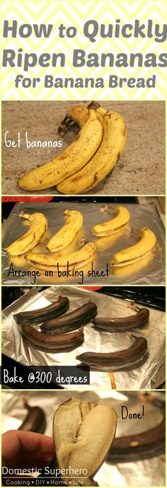 How to Quickly Ripen Bananas for Banana Bread - this is so easy and handy because I always want to make banana bread, but my bananas are never over ripe - problem solved!