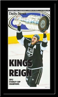Full-Color, full page reproduction of the Los Angeles Kings Stanley Cup victory over the New Jersey Devils, from the Sports Headline Page of the Los Angeles Daily News.