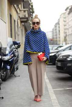 Love the tailored peg leg trousers and oversized  top