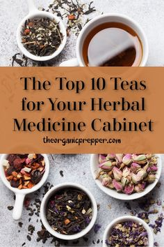 Learn about the top 10 teas for your herbal medicine cabinet, growing them, and their uses. Who doesn't love a hot cuppa? | The Organic Prepper #tea #herbs #herbalmedicine #gardening #sustainability
