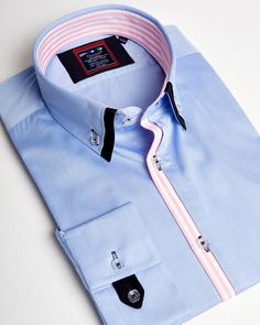 Blue double collar shirt for men