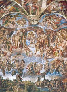 Universal Judgment before restoration. Il 31 ottobre 1512 veniva scoperta la decorazione della volta, capolavoro di Michelangelo Buonarroti. Il Giudizio Universale sarà eseguito più tardi, tra il 1536 ed il 1541.