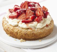 Strawberry cream tea cake - makes a good giant scone for strawberry shortcake. No difference with or without baking powder