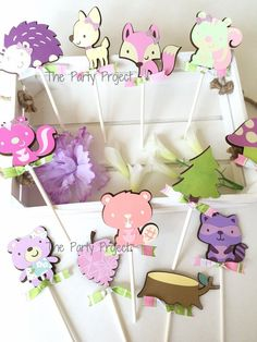 "Add cuteness to your woodland cupcakes with these adorable girl forest animals Cupcake toppers! Perfect for a pink woodland birthdays, baby showers, or a camping party! - Girl ""Into the woods"" party supplies."
