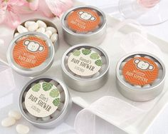 Personalized Silver Round Candy Tin - Born To Be Wild Baby Shower Collection
