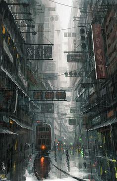 Ideas For Illustration Art City Cyberpunk Cyberpunk City, Ville Cyberpunk, Cyberpunk Aesthetic, Futuristic City, Environment Concept, Environment Design, World Environment Day, City Art, Art In The City