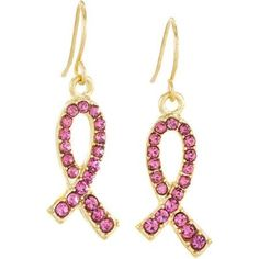 Pink Crystal Gold-Tone Stainless Steel Breast Cancer Awareness Ribbon Earrings, Women's, Silver