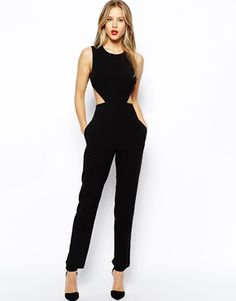 """ASOS #Jumpsuit #trend  with Tie Back Detail in #black  This jumpsuit is on point.  The cut outs and open back make it """"now"""" and sexy without showing too much."""