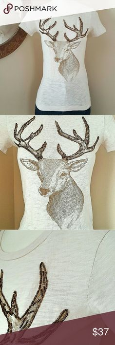 J.CREW XXS COTTON DEER PRINT BEADED ANTLER T SHIRT 100% cotton soft, thin J.Crew T-shirt. Color: Off-white with a brown deer print on front. The antlers feature beaded embellishments. The back is plain. Hand wash. Like new condition. Size XXS. DISCOUNTED BUNDLES AND FREE GIFT WITH EVERY PURCHASE! J. Crew Tops Tees - Short Sleeve