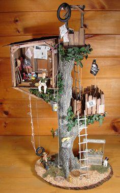 Tree house in scale miniature – Garten Dekoration ideen Miniature Fairy Gardens, Miniature Houses, Miniature Trees, Fairy Tree, Fairy Garden Houses, Fairies Garden, Gnome Garden, Gnome House, Fairy Land