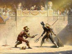 gladiator duel somewhere in the Roman Empire Roman Gladiators, Ancient Rome Gladiators, Marshal Arts, Greek Warrior, Empire Romain, Greek And Roman Mythology, Landsknecht, Roman History, Red Sonja