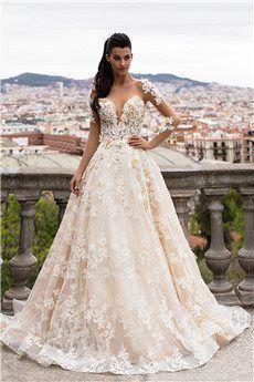 Ball Gown Bateau Chapel Train Lace Wedding Dress #weddinggowns