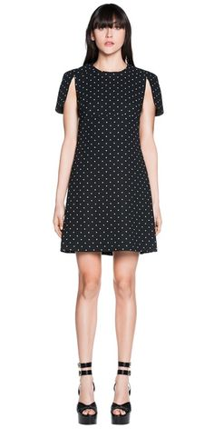 I literally just purchased this CUE - Spot Print Crepe A-Line Dress. My first shift dress ever! I didn't think my ghetto booty would be able to do this, but it can and it will! Buy Dresses Online, Beautiful Outfits, Evening Dresses, Casual Dresses, Cold Shoulder Dress, High Neck Dress, Short Sleeve Dresses, Lady, How To Wear