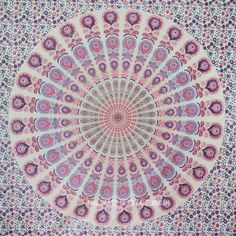 Blend of Pink  White Peacock Wings Psychedelic Mandala Tapestry on RoyalFurnish.com, $18.85
