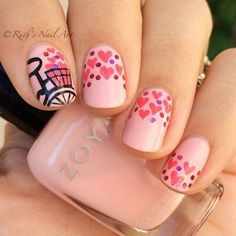 I am providing you a post of best Valentine's Day nail art designs & ideas, these Vday nails are adorable and I am sure your other half will appreciate your efforts and beauty. Gorgeous Nails, Love Nails, Pretty Nails, Valentine's Day Nail Designs, Simple Nail Art Designs, Heart Nail Art, Heart Nails, Valentine Nail Art, Holiday Nails