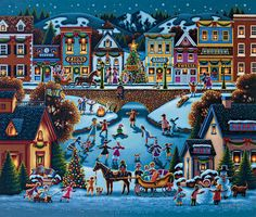 Eric Dowdle Christmas Puzzles are ideal for anyone who loves folk art.These gorgeous Christmas puzzles from Eric Dowdle folk art collection make ideal gifts Christmas Jigsaw Puzzles, Christmas Puzzle, Christmas Art, Christmas Christmas, Illustration Noel, Colourful Buildings, Puzzle Art, Santas Workshop, Christmas Paintings