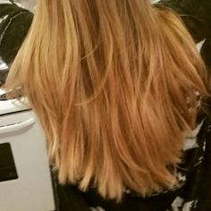 Ombre hair, colored to match my natural strawberry blonde.. my inner hippy.