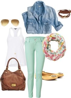 """Spring 2013 Mint Skinny Jeans"" by lisantay on Polyvore"