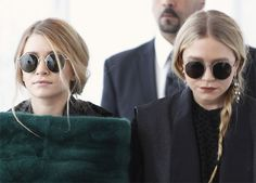 Mary-Kate and Ashley Olsen in round sunglasses. #olsentwins #style #fashion