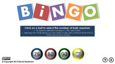 Here is afree PowerPoint Bingo Caller. Use the file to randomly call numbers from 1 up to a maximum of 99, and keep track of which numbers have been called. You set the maximum number of balls, wh…