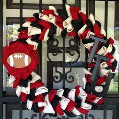 Wreath Crafts, Burlap Wreath, Football Wreath, Texas Tech University, Red Raiders, School Decorations, Alma Mater, Craft Night, 4th Of July Wreath