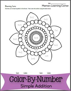 Practice simple addition with a free color-by-number worksheet!