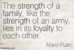 The strength of a family, like the strength of an army, lies in its loyalty to each other. Mario Puzo