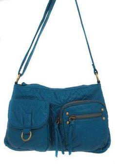 Turquoise Blue Purse Soft Stonewashed Faux Leather Hobo Handbag Bag #AmpereCreations #Handbag