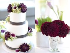 burgundy wine colored flowers decorate the cake and centerpieces at this Carneros Inn Wedding wedding-design