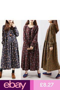 1867c8d813020 Zanzea Women Vintage Floral Long Sleeve Casual Loose Maxi Dress Plus Size