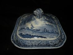 Antique Staffordshire Blue Transferware Wild Rose Covered Vegetable w Liner | eBay