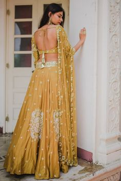 Pleats Mumbai Has The Best Lehengas For You - Looking for a mustard yellow lehenga? Pleats Mumbai has a gorgeous collection you must not miss. Indian Wedding Outfits, Bridal Outfits, Indian Outfits, Indian Clothes, Wedding Dress, Indian Attire, Indian Ethnic Wear, Dress Indian Style, Indian Dresses