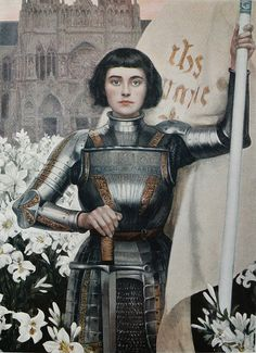 "animedads: "" my favorite paintings of Joan of Arc are the ones where she's got that cute bobcut thing going on, but also this one because she's getting a sword from a ghost which are arguably the most..."
