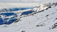 Switzerland- A panoramic view of Mount Titlis in the Urner Alps of Switzerland.